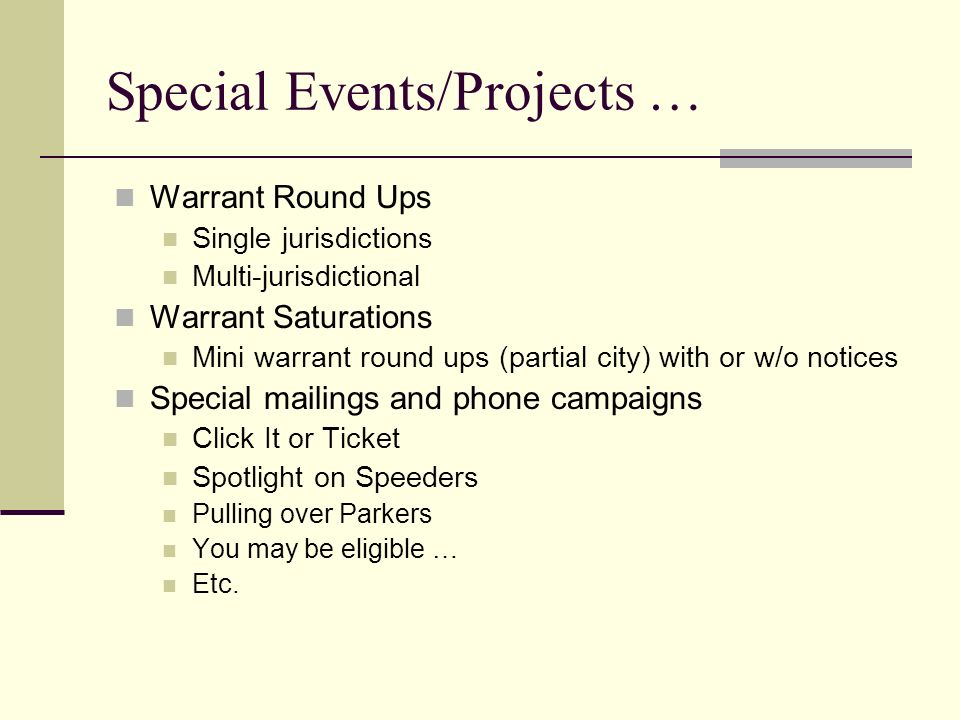Warrant Round Ups and Other Collection Ideas Facilitator