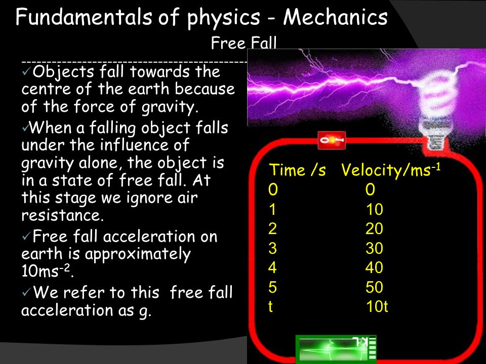 Fundamentals of physics - Mechanics Free Fall Objects fall towards the centre of the earth because of the force of gravity.