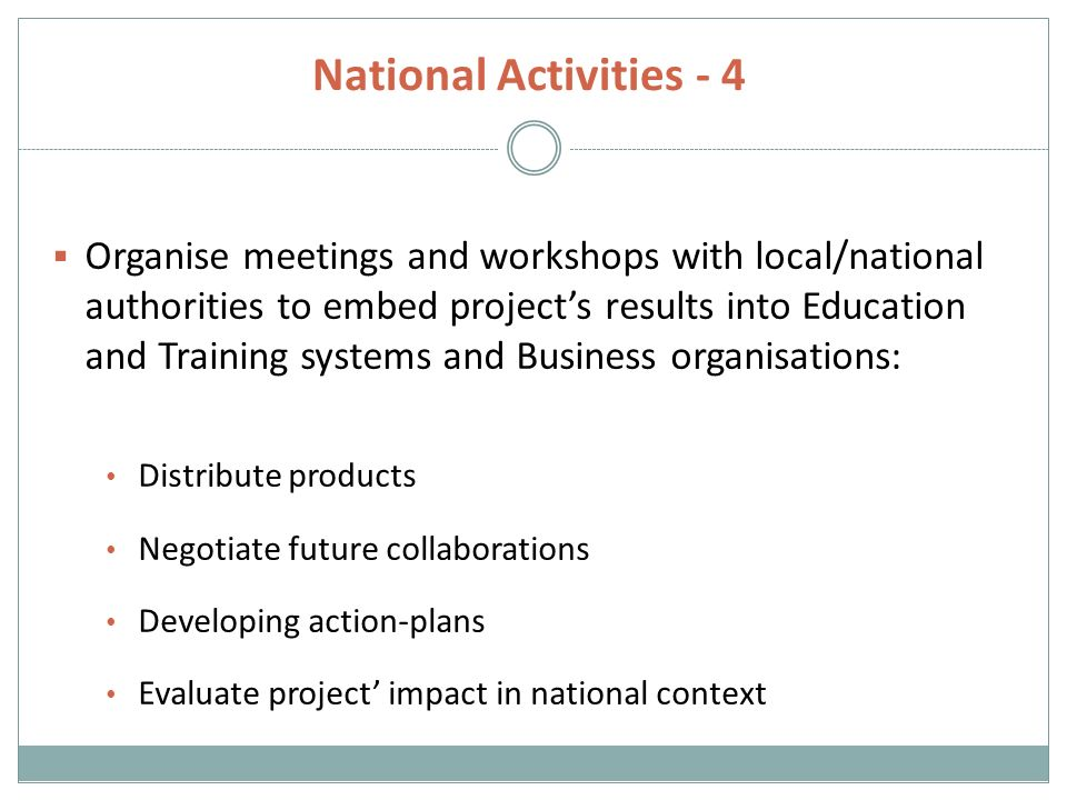 National Activities - 4  Organise meetings and workshops with local/national authorities to embed project's results into Education and Training systems and Business organisations: Distribute products Negotiate future collaborations Developing action-plans Evaluate project' impact in national context