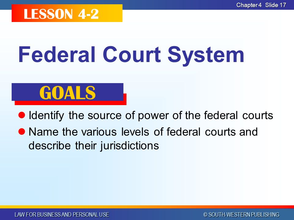LAW FOR BUSINESS AND PERSONAL USE © SOUTH-WESTERN PUBLISHING Chapter 4 Slide 17 Federal Court System Identify the source of power of the federal courts Name the various levels of federal courts and describe their jurisdictions LESSON 4-2 GOALS