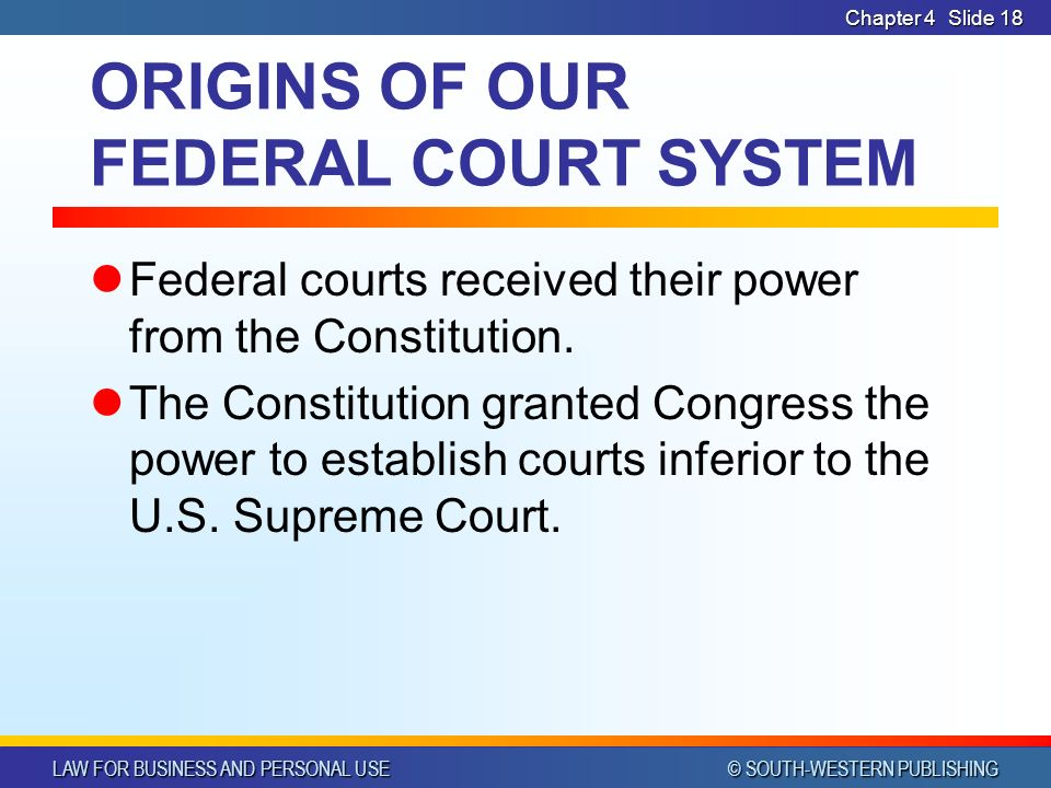 LAW FOR BUSINESS AND PERSONAL USE © SOUTH-WESTERN PUBLISHING Chapter 4Slide 18 ORIGINS OF OUR FEDERAL COURT SYSTEM Federal courts received their power from the Constitution.