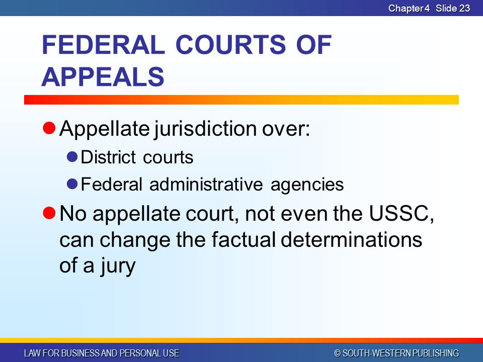 LAW FOR BUSINESS AND PERSONAL USE © SOUTH-WESTERN PUBLISHING Chapter 4Slide 23 FEDERAL COURTS OF APPEALS Appellate jurisdiction over: District courts Federal administrative agencies No appellate court, not even the USSC, can change the factual determinations of a jury
