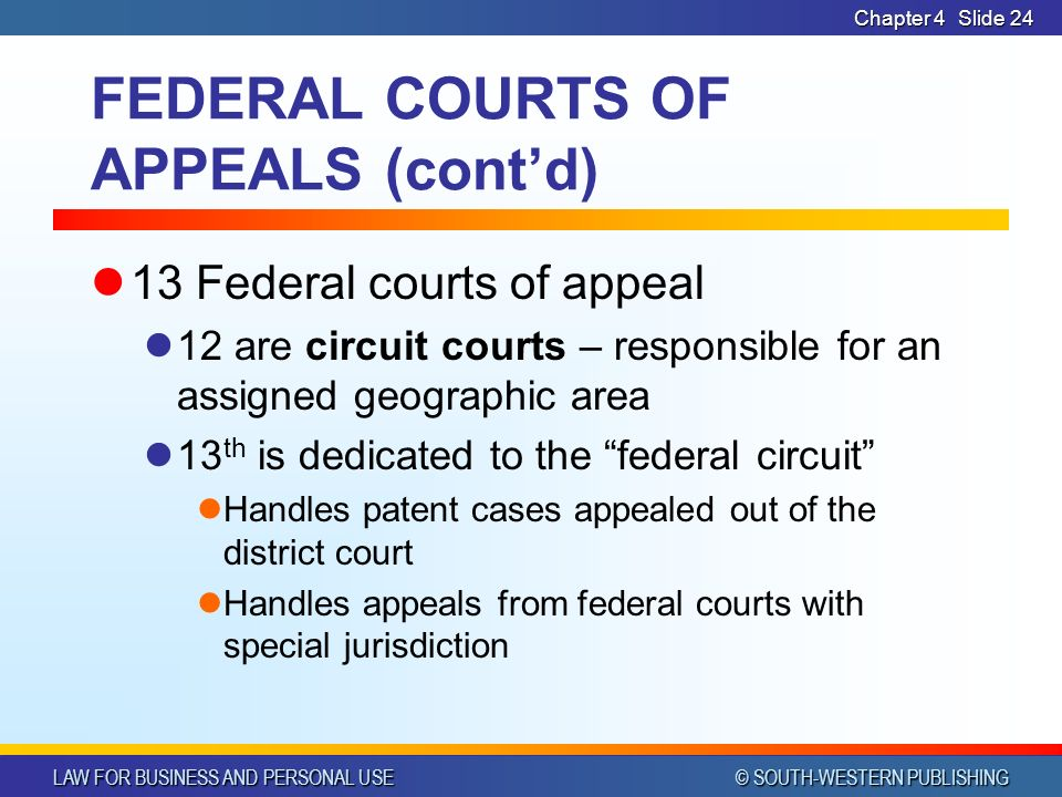 LAW FOR BUSINESS AND PERSONAL USE © SOUTH-WESTERN PUBLISHING Chapter 4Slide 24 FEDERAL COURTS OF APPEALS (cont'd) 13 Federal courts of appeal 12 are circuit courts – responsible for an assigned geographic area 13 th is dedicated to the federal circuit Handles patent cases appealed out of the district court Handles appeals from federal courts with special jurisdiction