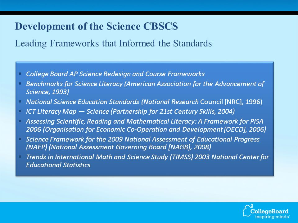 Development of the Science CBSCS Leading Frameworks that Informed the Standards