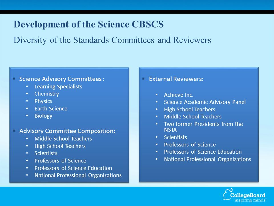 Development of the Science CBSCS Diversity of the Standards Committees and Reviewers