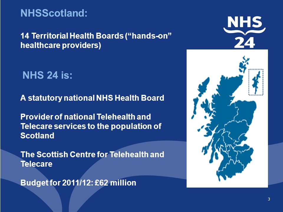 3 NHSScotland: 14 Territorial Health Boards ( hands-on healthcare providers) NHS 24 is: A statutory national NHS Health Board Provider of national Telehealth and Telecare services to the population of Scotland The Scottish Centre for Telehealth and Telecare Budget for 2011/12: £62 million