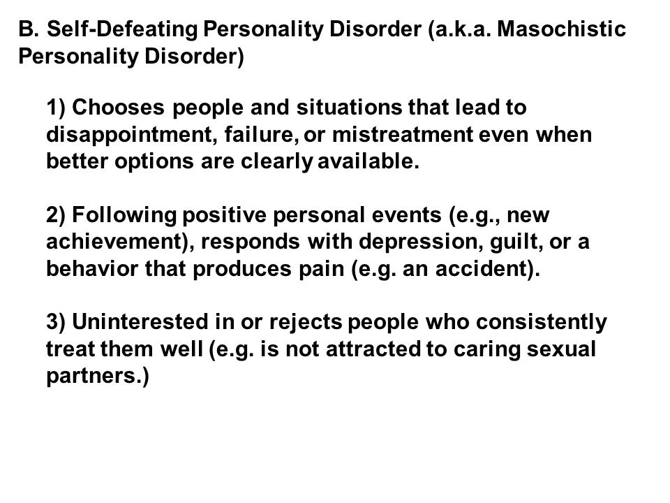 self defeating personality disorder