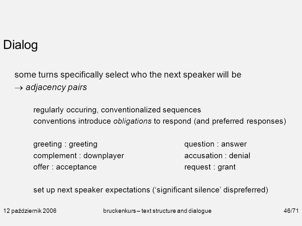 12 Październik 2006bruckenkurs Text Structure And Dialogue1 71