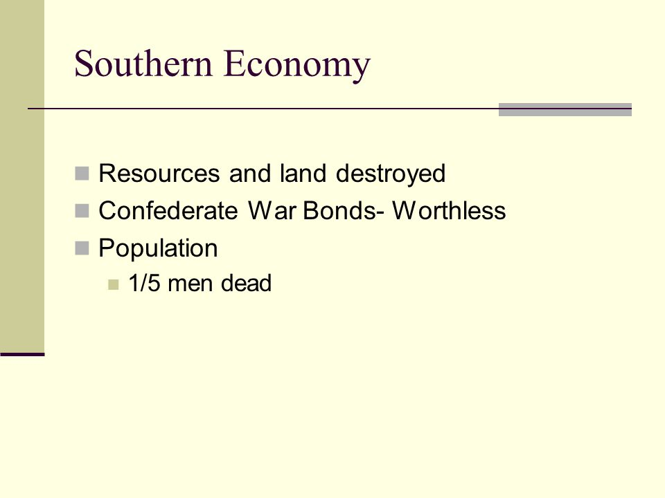 Southern Economy Resources and land destroyed Confederate War Bonds- Worthless Population 1/5 men dead
