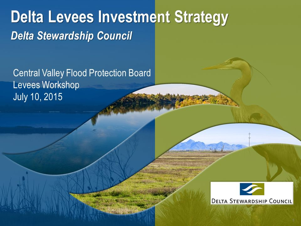 1 Delta Levees Investment Strategy Delta Stewardship Council Central Valley Flood Protection Board Levees Workshop July 10, 2015