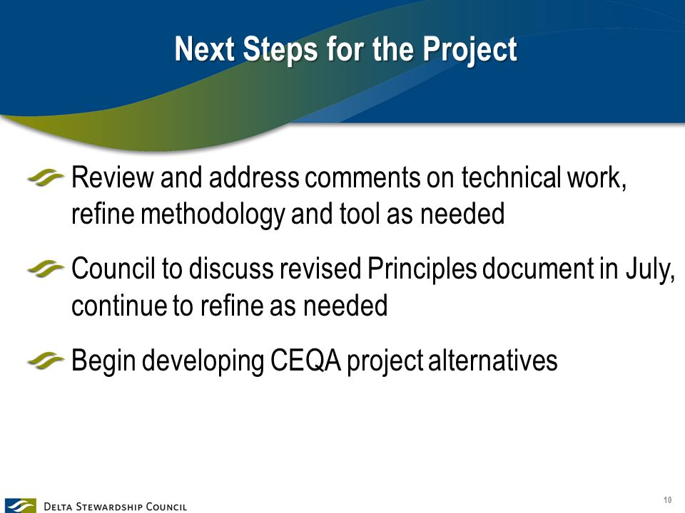 Next Steps for the Project Review and address comments on technical work, refine methodology and tool as needed Council to discuss revised Principles document in July, continue to refine as needed Begin developing CEQA project alternatives 10
