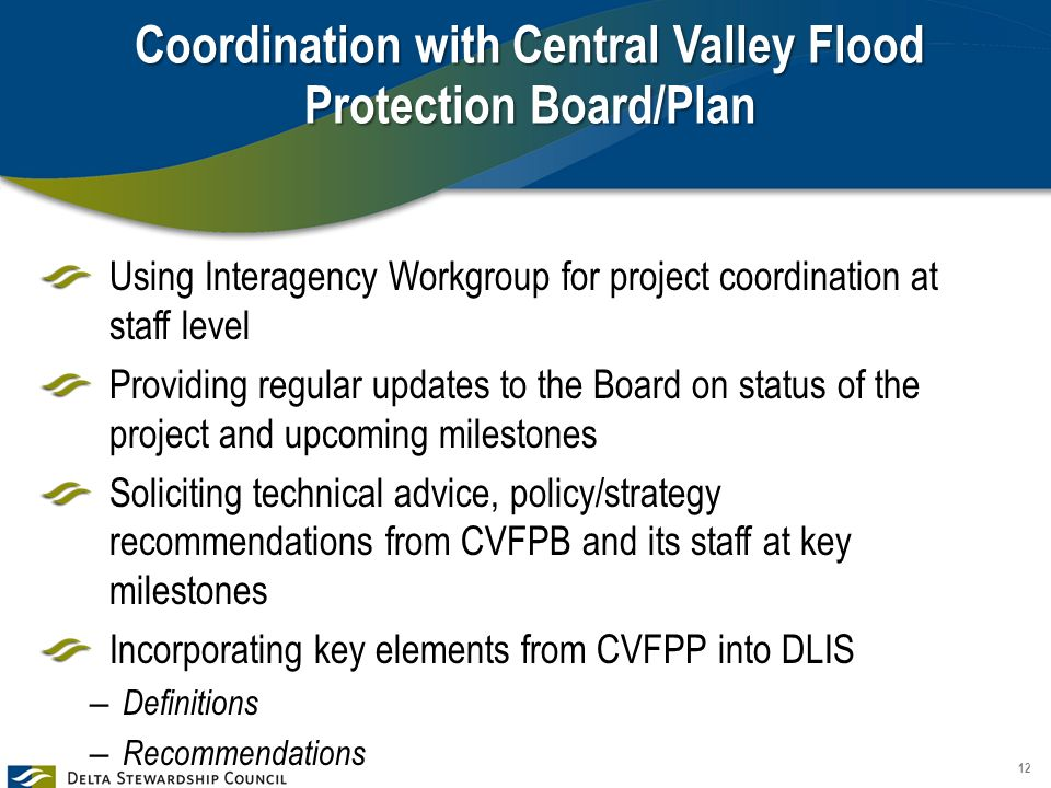 Coordination with Central Valley Flood Protection Board/Plan Using Interagency Workgroup for project coordination at staff level Providing regular updates to the Board on status of the project and upcoming milestones Soliciting technical advice, policy/strategy recommendations from CVFPB and its staff at key milestones Incorporating key elements from CVFPP into DLIS – Definitions – Recommendations 12