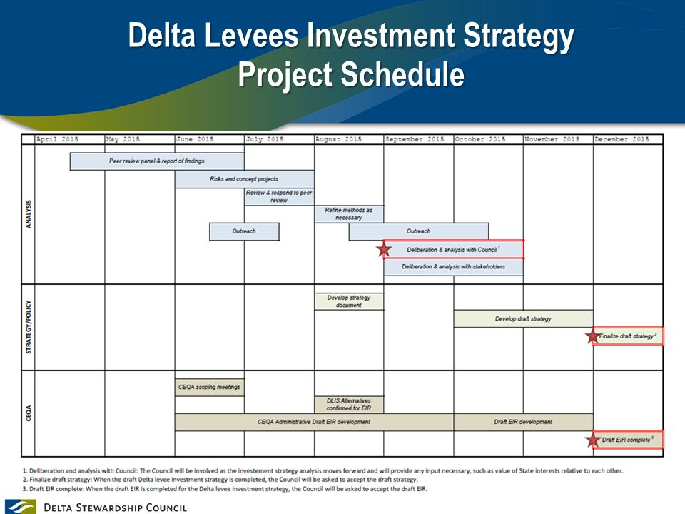 Delta Levees Investment Strategy Project Schedule