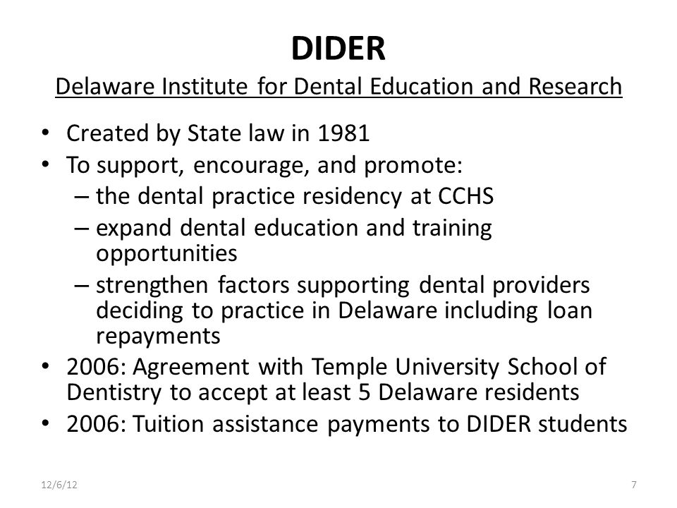 DIDER Delaware Institute for Dental Education and Research Created by State law in 1981 To support, encourage, and promote: – the dental practice residency at CCHS – expand dental education and training opportunities – strengthen factors supporting dental providers deciding to practice in Delaware including loan repayments 2006: Agreement with Temple University School of Dentistry to accept at least 5 Delaware residents 2006: Tuition assistance payments to DIDER students 12/6/127