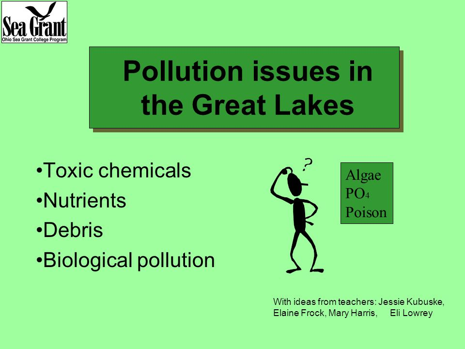 Pollution issues in the Great Lakes Toxic chemicals Nutrients Debris Biological pollution Algae PO 4 Poison With ideas from teachers: Jessie Kubuske, Elaine Frock, Mary Harris, Eli Lowrey