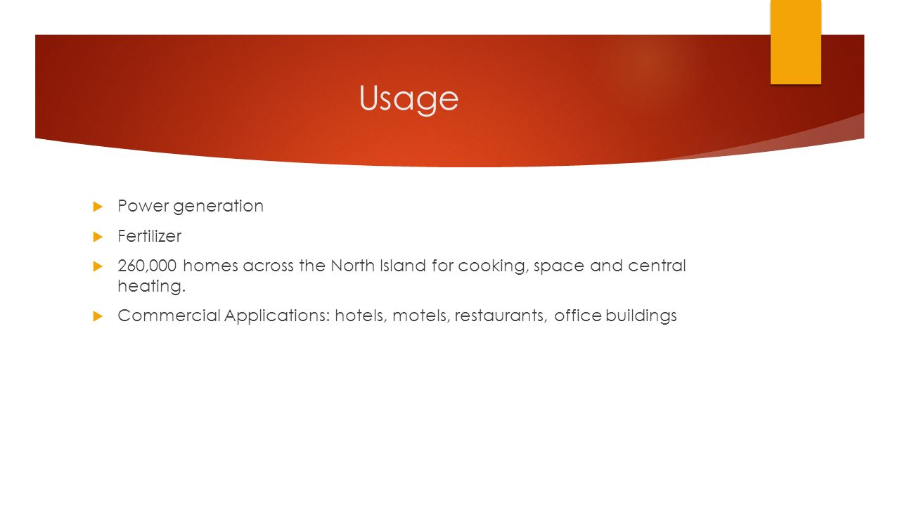 Usage  Power generation  Fertilizer  260,000 homes across the North Island for cooking, space and central heating.