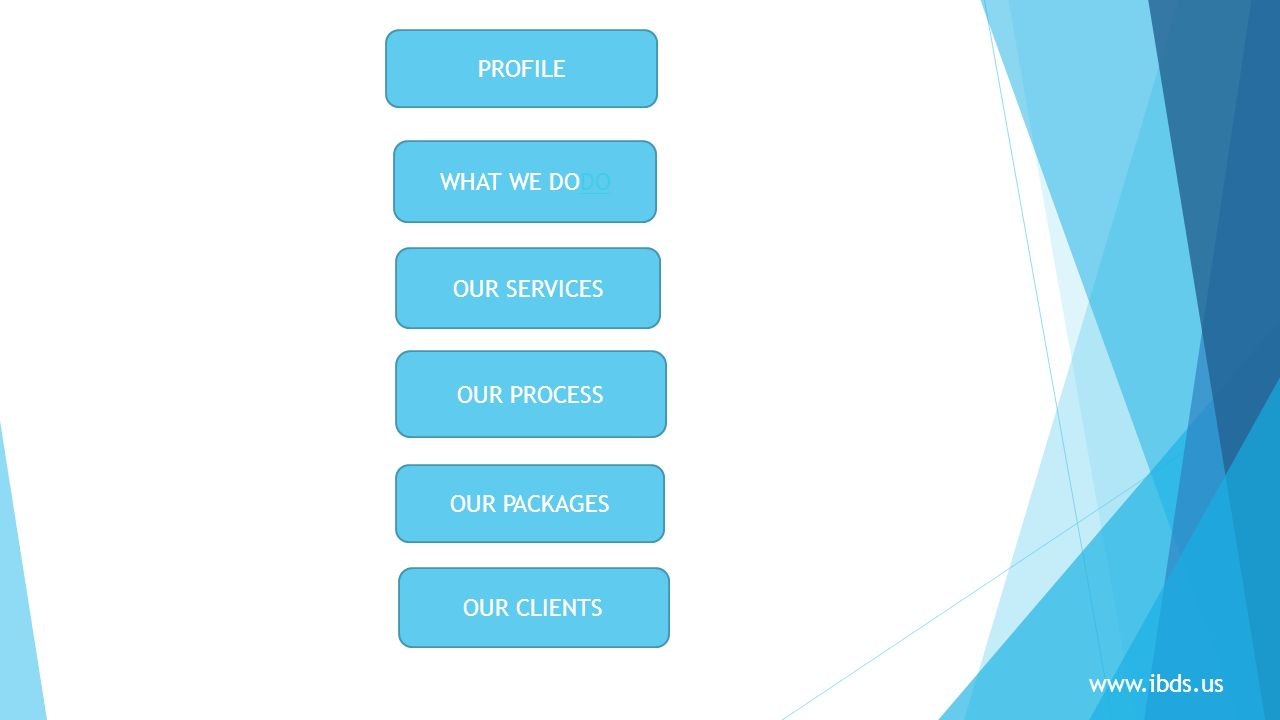 PROFILE WHAT WE DODO OUR SERVICES OUR PROCESS OUR PACKAGES OUR CLIENTS