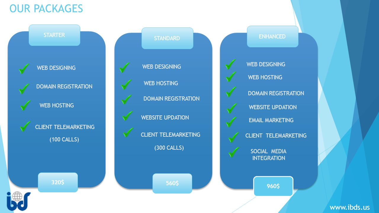STARTER 320$ 560$ 960$ STANDARD ENHANCED WEB DESIGNING DOMAIN REGISTRATION WEB HOSTING CLIENT TELEMARKETING WEB DESIGNING WEB HOSTING (100 CALLS) DOMAIN REGISTRATION CLIENT TELEMARKETING WEBSITE UPDATION (300 CALLS) WEB DESIGNING WEB HOSTING DOMAIN REGISTRATION WEBSITE UPDATION  MARKETING SOCIAL MEDIA INTEGRATION CLIENT TELEMARKETING OUR PACKAGES
