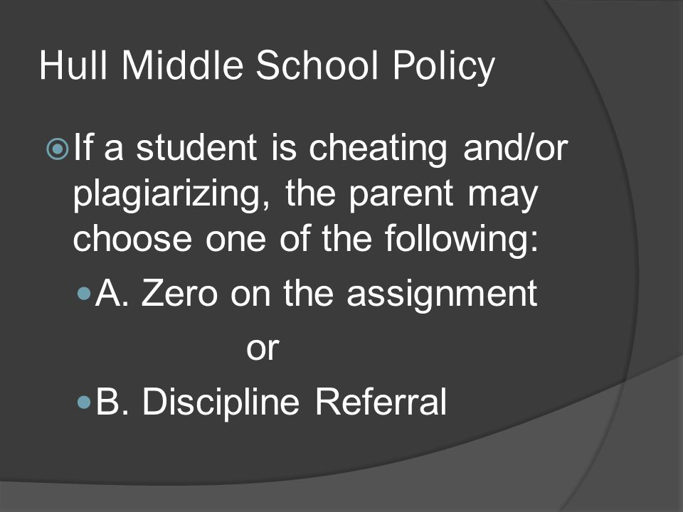Hull Middle School Policy  If a student is cheating and/or plagiarizing, the parent may choose one of the following: A.