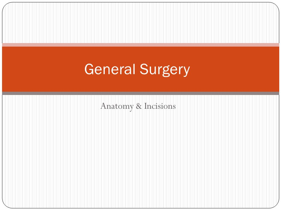 Anatomy & Incisions General Surgery