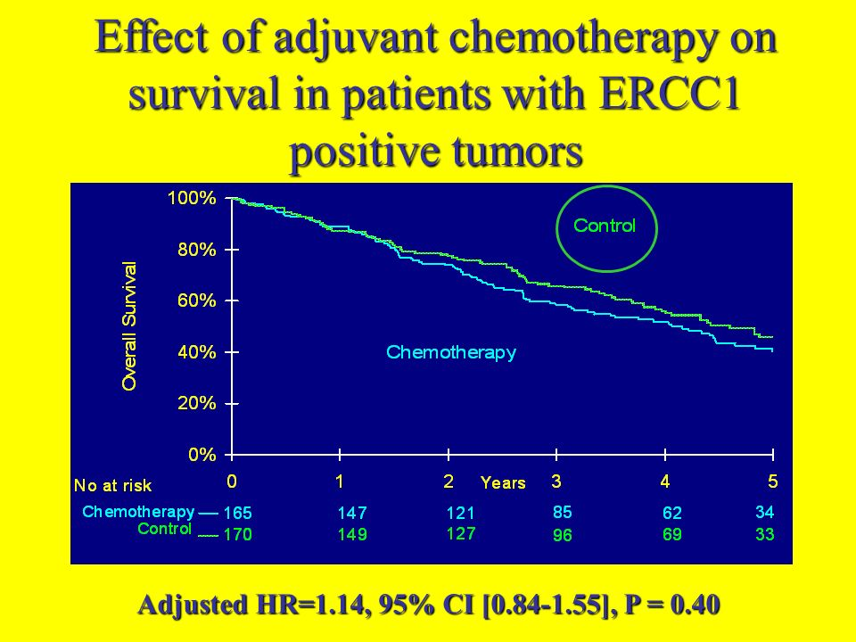 Adjusted HR=1.14, 95% CI [ ], P = 0.40 Effect of adjuvant chemotherapy on survival in patients with ERCC1 positive tumors