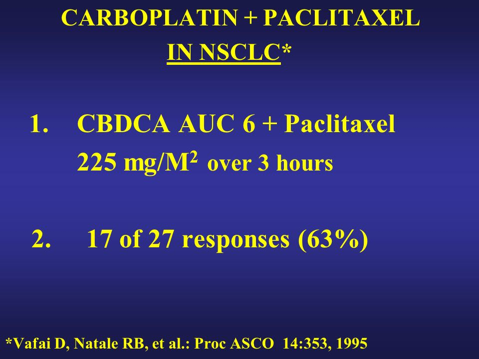 CARBOPLATIN + PACLITAXEL IN NSCLC* 1. CBDCA AUC 6 + Paclitaxel 225 mg/M 2 over 3 hours 2.