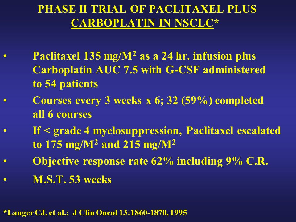 PHASE II TRIAL OF PACLITAXEL PLUS CARBOPLATIN IN NSCLC* Paclitaxel 135 mg/M 2 as a 24 hr.