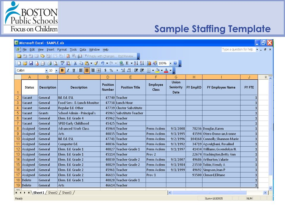 Sample Staffing Template