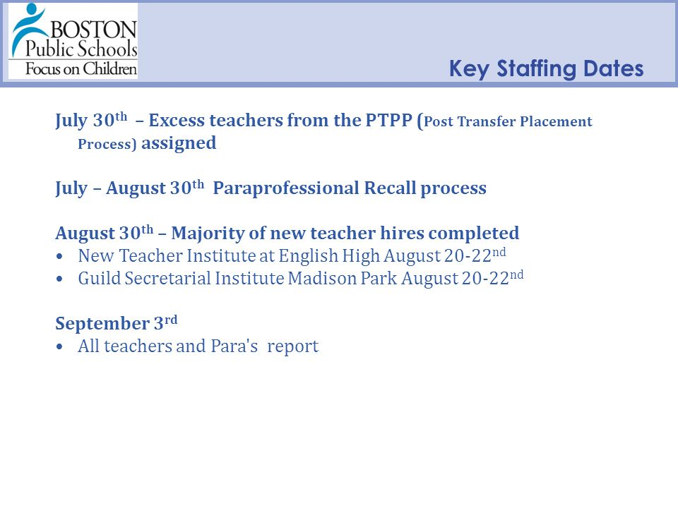 Key Staffing Dates July 30 th – Excess teachers from the PTPP ( Post Transfer Placement Process) assigned July – August 30 th Paraprofessional Recall process August 30 th – Majority of new teacher hires completed New Teacher Institute at English High August 20-22 nd Guild Secretarial Institute Madison Park August 20-22 nd September 3 rd All teachers and Para s report