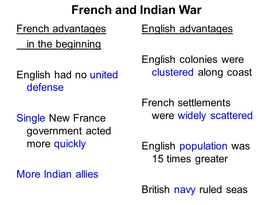 French and Indian War French advantages in the beginning English had no united defense Single New France government acted more quickly More Indian allies English advantages English colonies were clustered along coast French settlements were widely scattered English population was 15 times greater British navy ruled seas