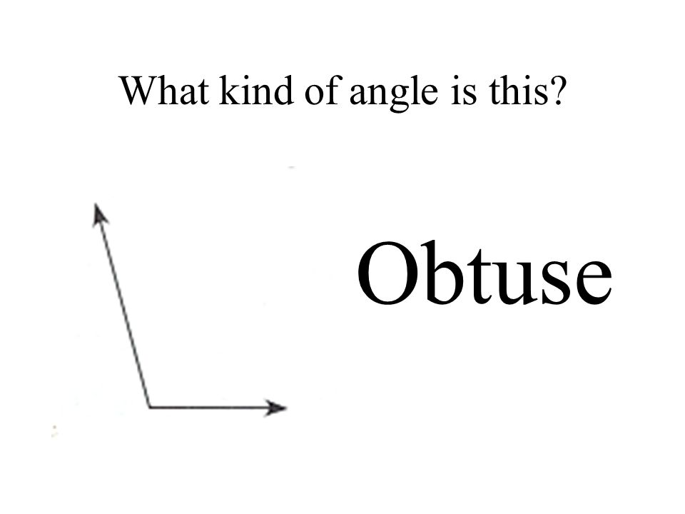 What kind of angle is this Obtuse
