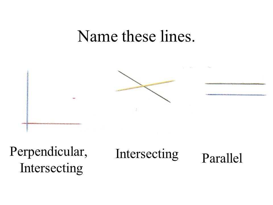 Name these lines. Perpendicular, Intersecting Intersecting Parallel