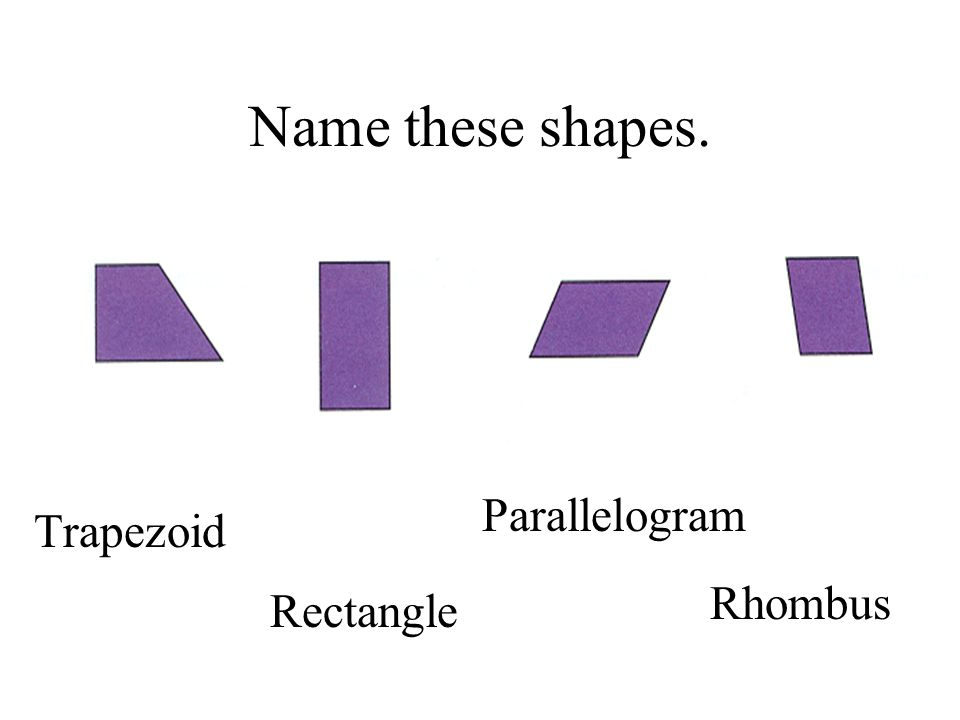 Name these shapes. Trapezoid Rectangle Rhombus Parallelogram