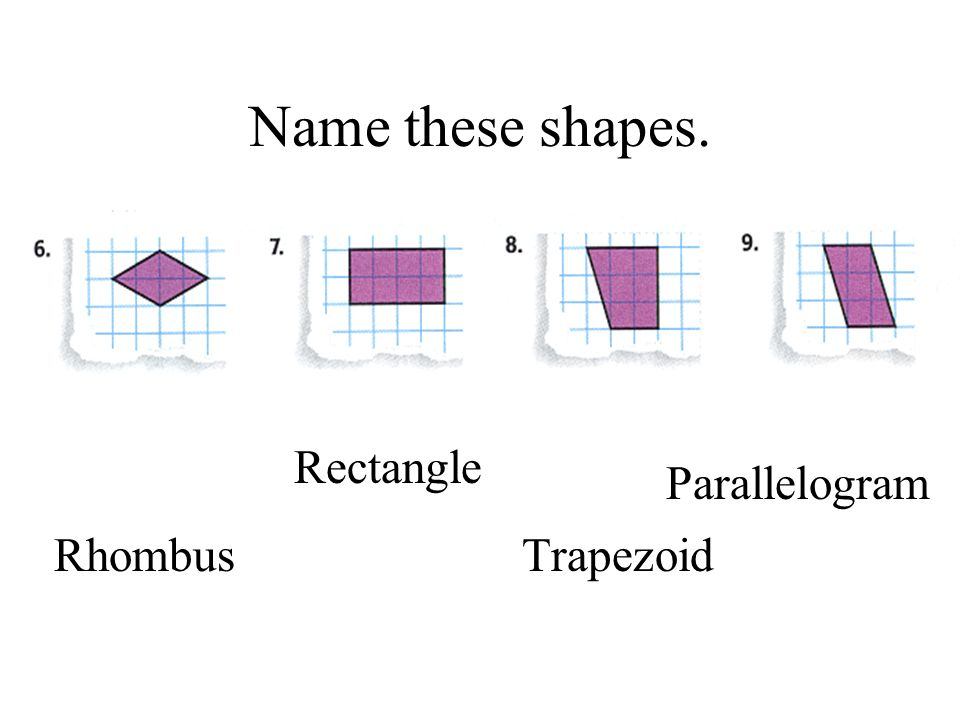 Name these shapes. Trapezoid Rhombus Parallelogram Rectangle
