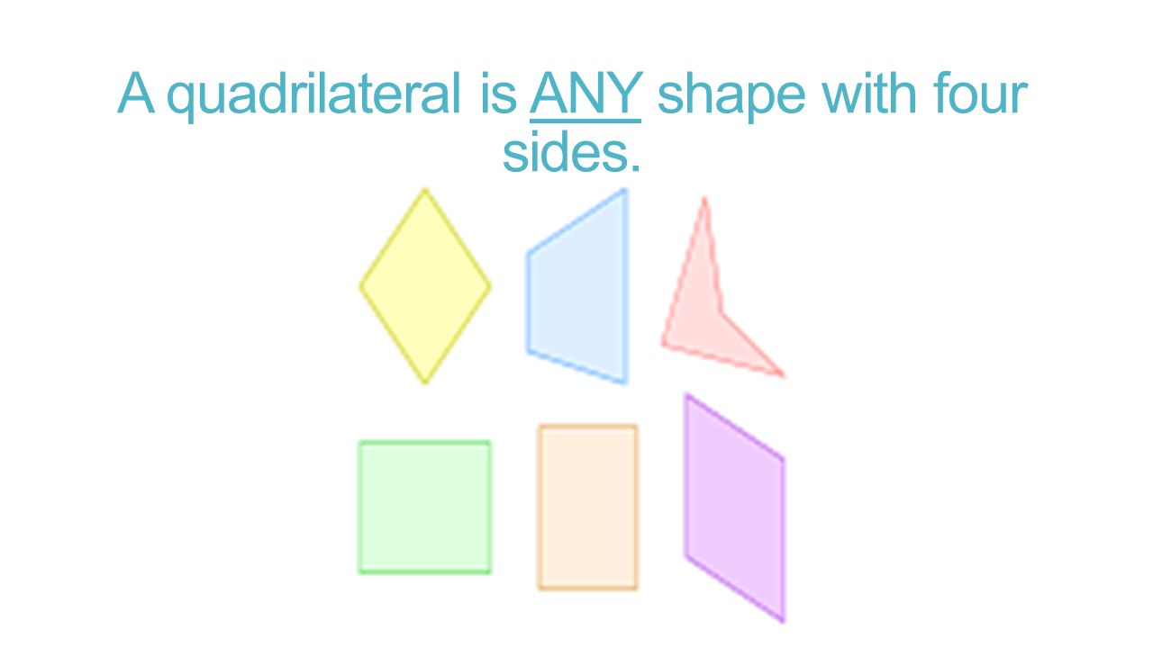 A quadrilateral is ANY shape with four sides.