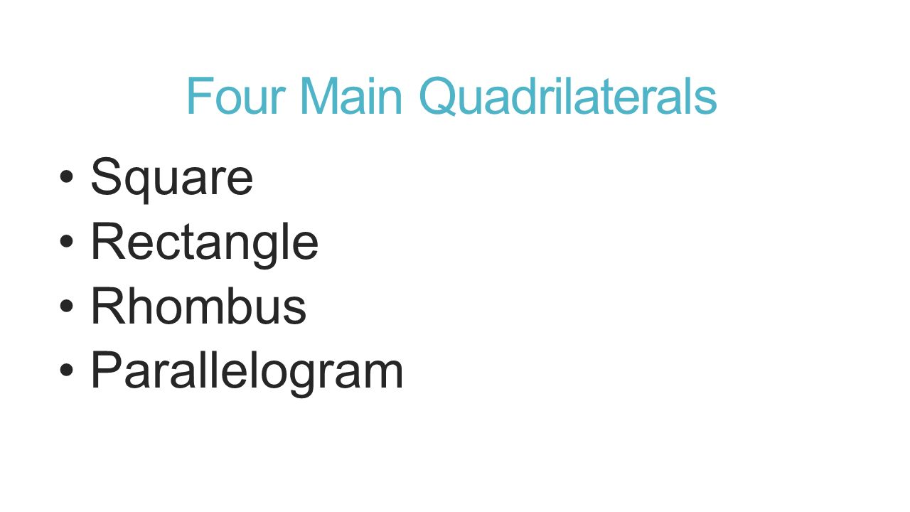 Four Main Quadrilaterals Square Rectangle Rhombus Parallelogram