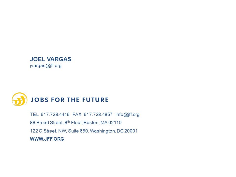 JOEL VARGAS TEL FAX Broad Street, 8 th Floor, Boston, MA C Street, NW, Suite 650, Washington, DC