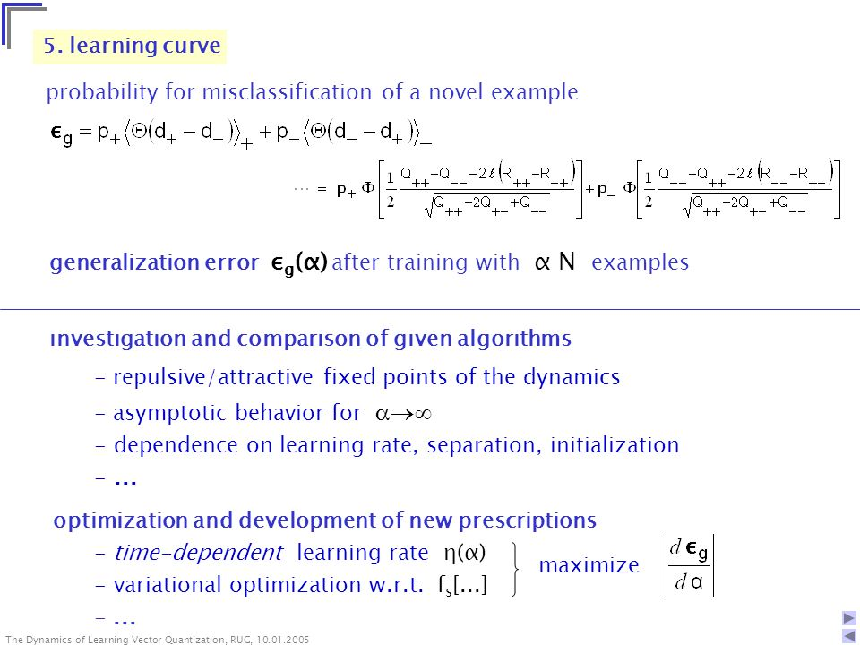 The Dynamics of Learning Vector Quantization, RUG, The Dynamics of