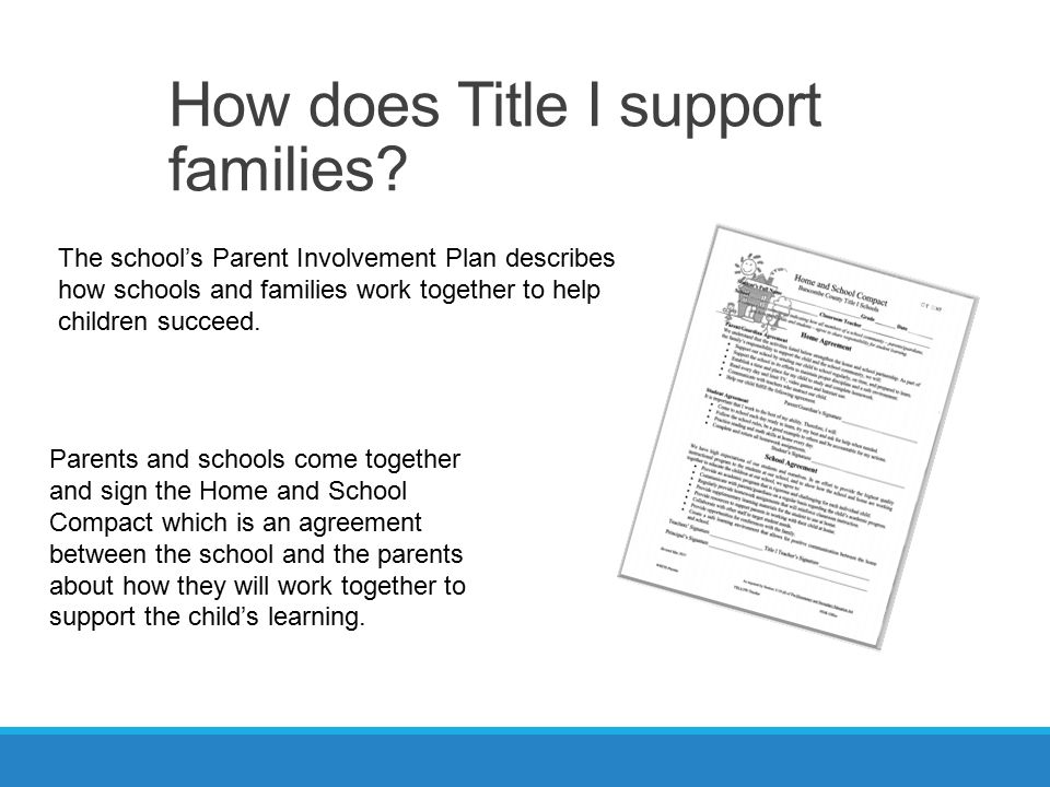 How does Title I support families.