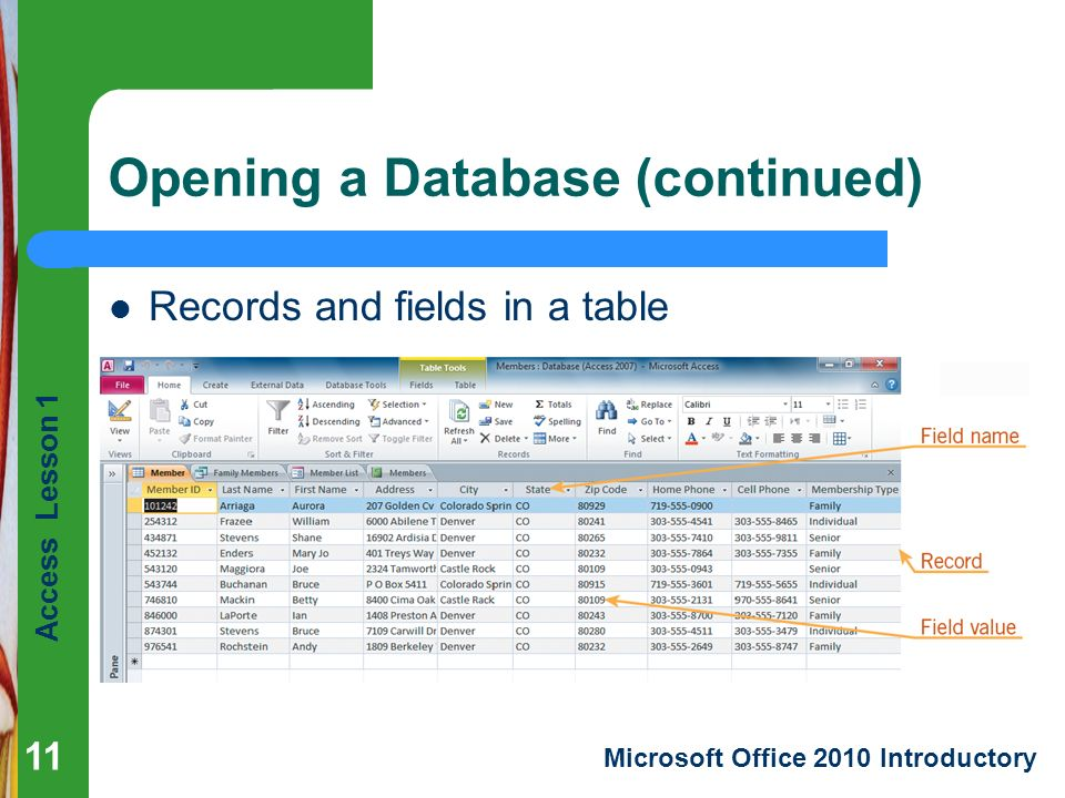 Access Lesson 1 Microsoft Office 2010 Introductory Opening a Database (continued) Records and fields in a table 11