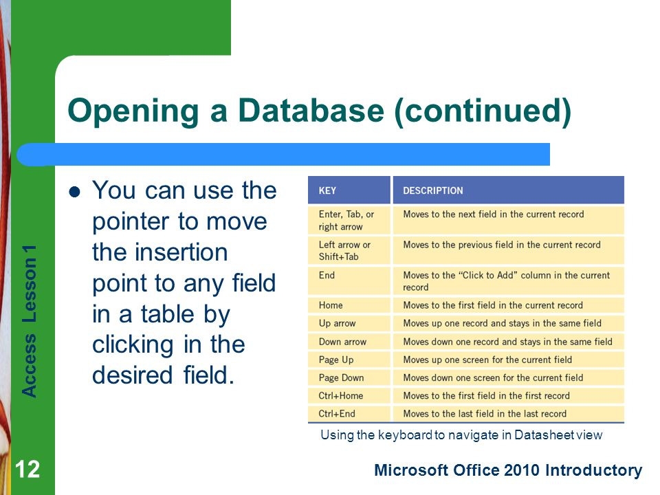 Access Lesson 1 Microsoft Office 2010 Introductory Opening a Database (continued) You can use the pointer to move the insertion point to any field in a table by clicking in the desired field.