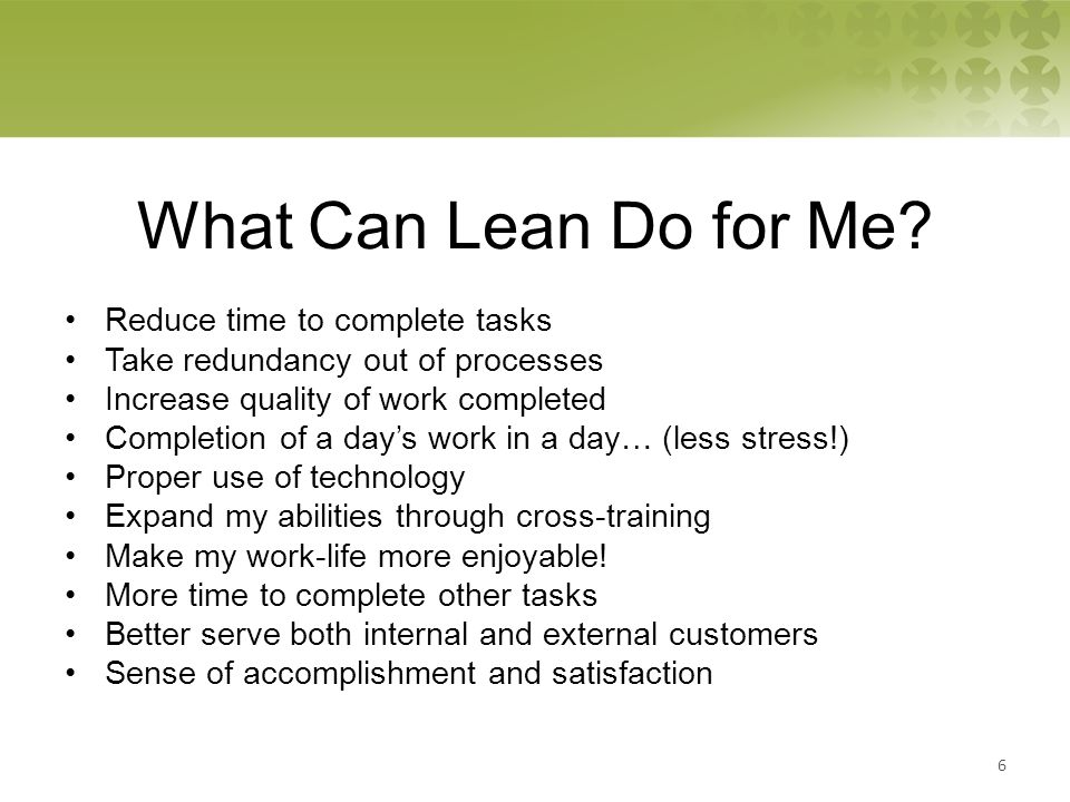 What Can Lean Do for Me.