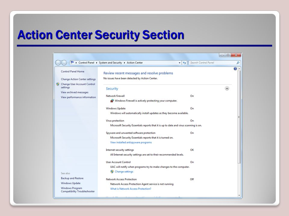Action Center Security Section
