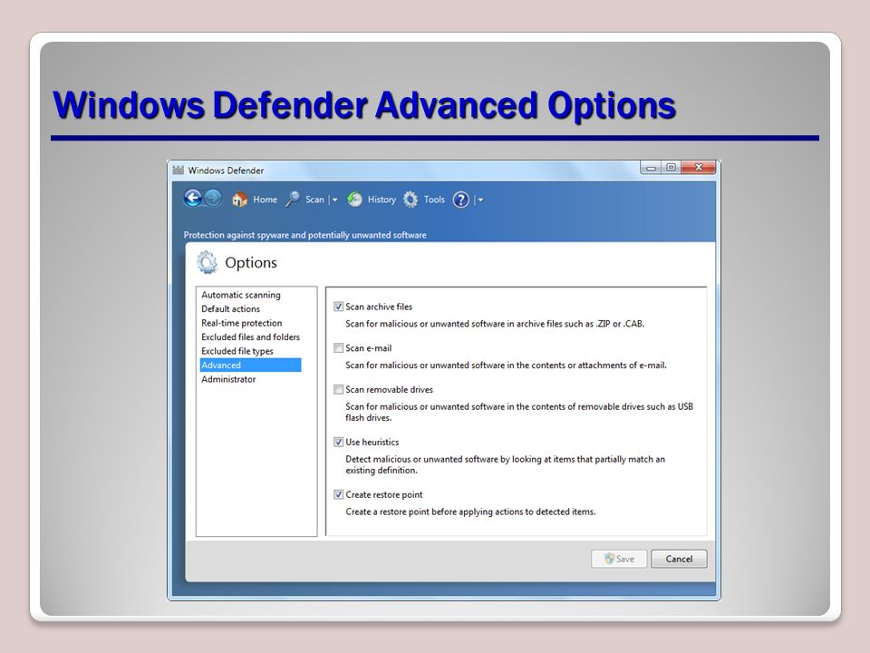 Windows Defender Advanced Options