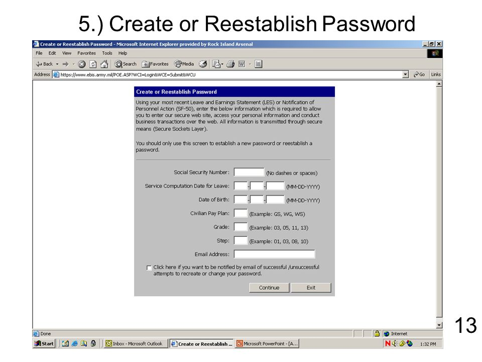 Create Or Reestablish Password 13