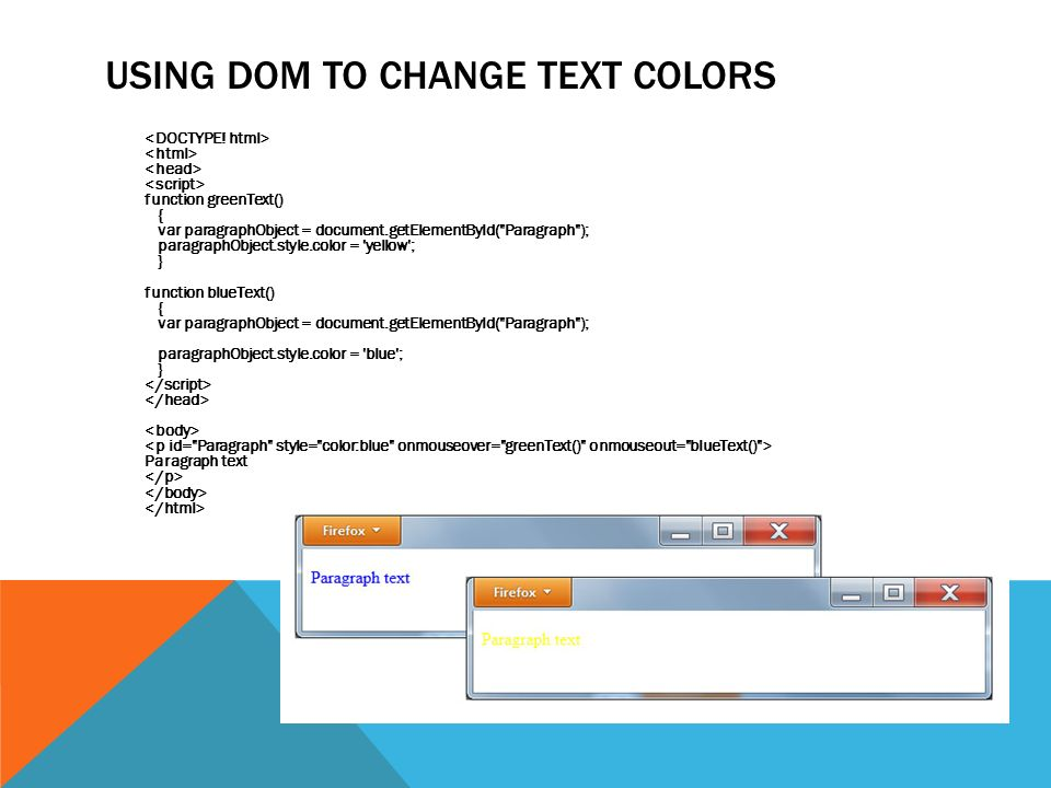 USING DOM TO CHANGE TEXT COLORS function greenText() { var paragraphObject = document.getElementById( Paragraph ); paragraphObject.style.color = yellow ; } function blueText() { var paragraphObject = document.getElementById( Paragraph ); paragraphObject.style.color = blue ; } Paragraph text