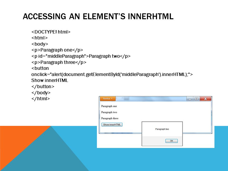 ACCESSING AN ELEMENT'S INNERHTML Paragraph one Paragraph two Paragraph three Show innerHTML