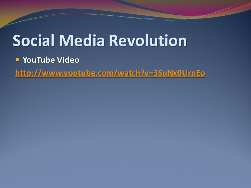 Social Media Revolution YouTube Video YouTube Video   v=3SuNx0UrnEo