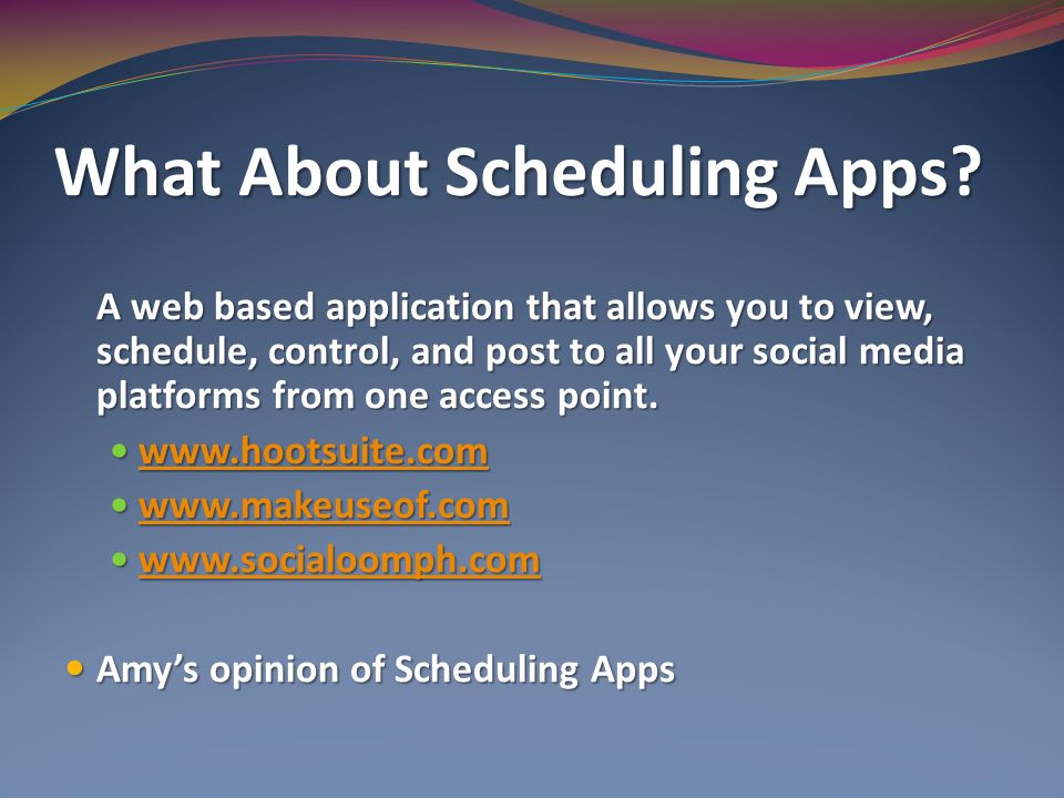 What About Scheduling Apps.