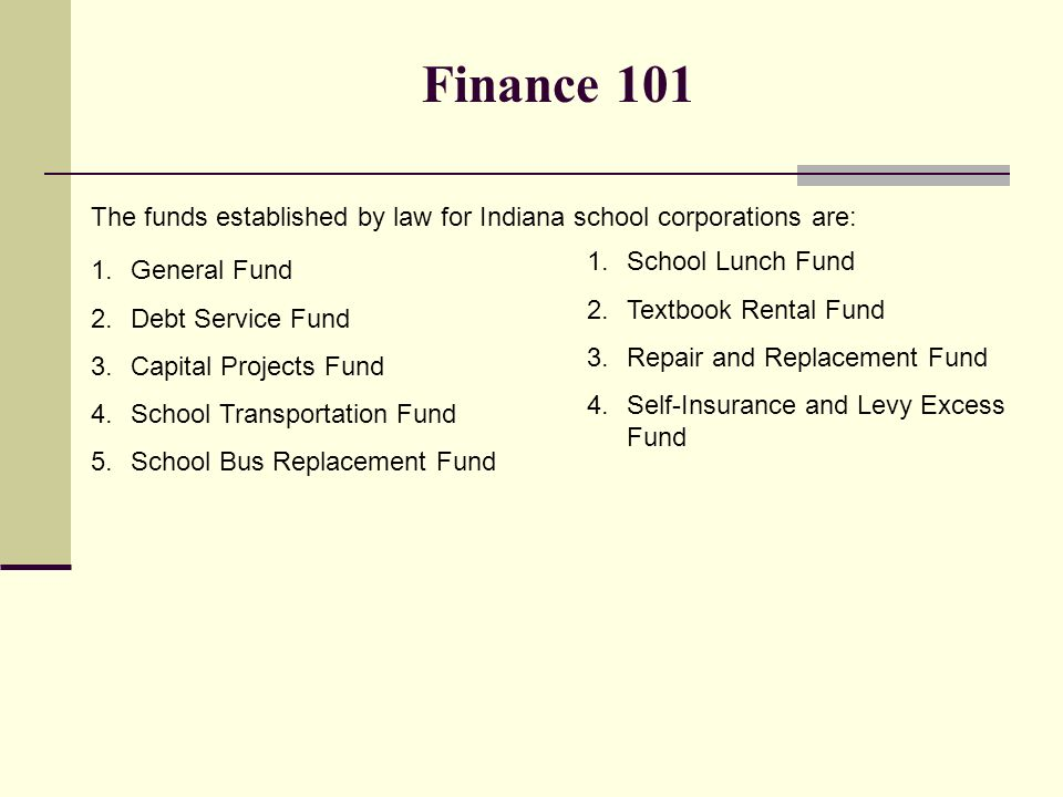 Finance 101 The Funds Established By Law For Indiana School